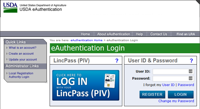 SNAP Retailer USDA eAuthentication Account Login